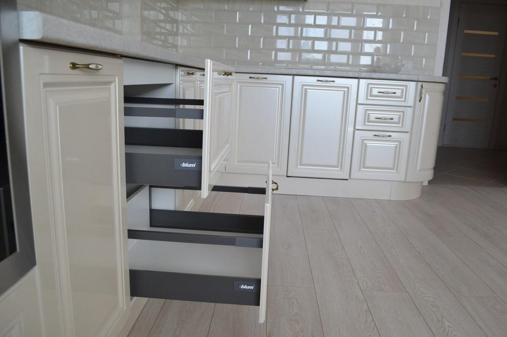 Белый кухонный гарнитур-Кухня МДФ в ПВХ «Модель 204»-фото4