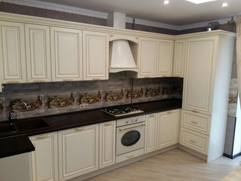 Бежевые кухни-Кухня МДФ в ПВХ «Модель 146»-фото1