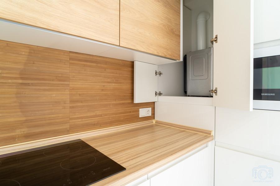 Белый кухонный гарнитур-Кухня МДФ в эмали «Модель 5»-фото8