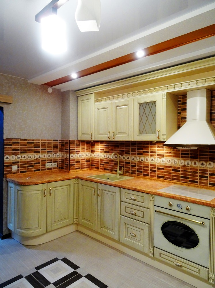 Бежевые кухни-Кухня МДФ в эмали «Модель 301»-фото1