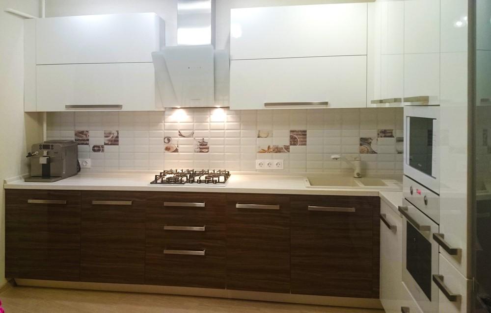 Белый кухонный гарнитур-Кухня из акрила «Модель 287»-фото2