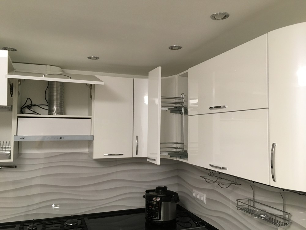 Белый кухонный гарнитур-Кухня МДФ в ПВХ «Модель 311»-фото11