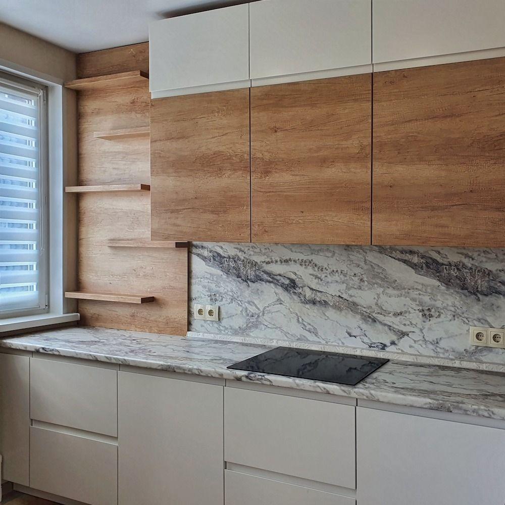 Белый кухонный гарнитур-Кухня МДФ в эмали «Модель 526»-фото4