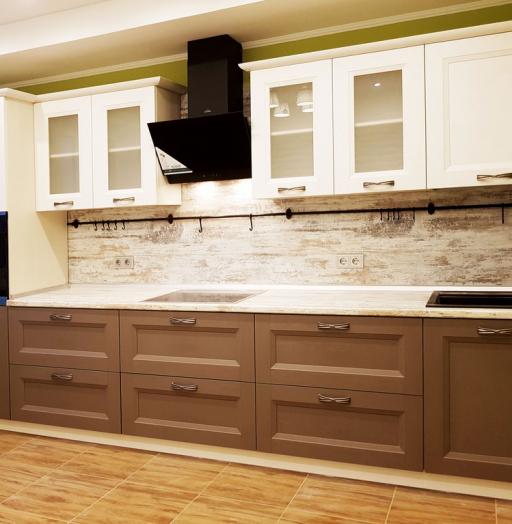 Белый кухонный гарнитур-Кухня из шпона «Модель 25»-фото3